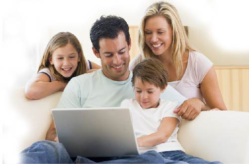 Family using a computer