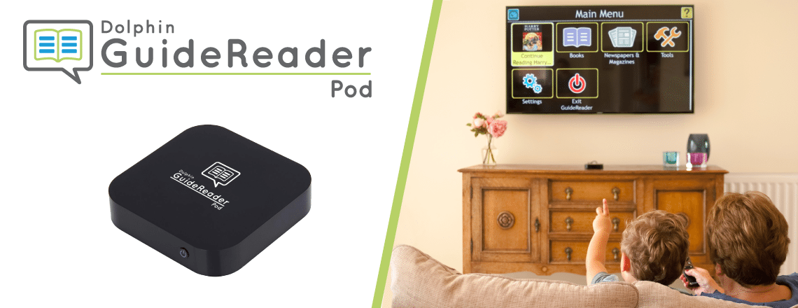 GuideReader Pod plugged into TV with user controlling with remote.