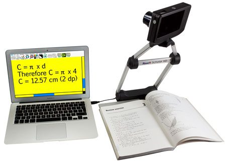 Readit Scholar HD with math book using distance view to capture whiteboard.